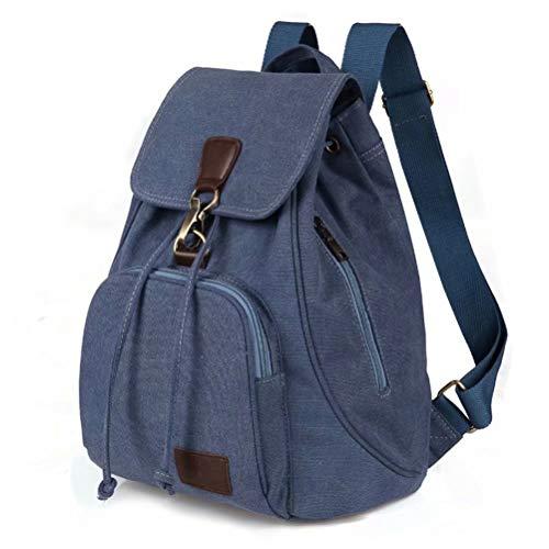 Mochilas de Lona para Mujer Ligero Casual Vintage Backpack Antirrobo con Zipper Hebilla Daypack De Escuela Viaje Negro Caqui Marrón Azul Azul
