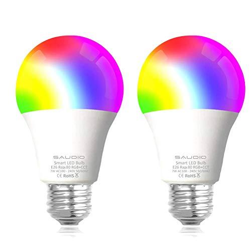 Smart WLAN LED Lampe Glühbirnen Saudio E27 Birne RGB Wifi Bulb mit Mehreren Farben Glühbirne 600LM, steuerbar via App dimmbare, kompatibel mit Alexa Echo, Echo Do 2pack