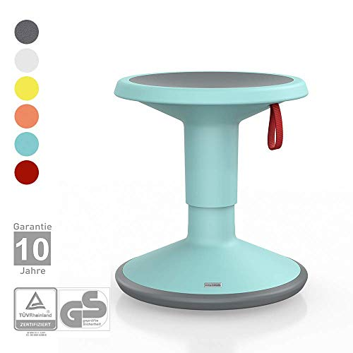Interstuhl UPis1 Junior für Kinder - ergonomischer Sitzhocker – Premium Hocker höhenverstellbar und drehbar - Drehhocker für rückenfreundliches Sitzen (Junior Edition, Türkis)