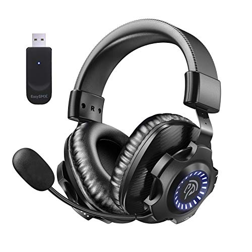 EasySMX 2.4G Wireless Gaming Headset PS5/PS4/PC V07W Gaming Headphones with Detachable Noise...