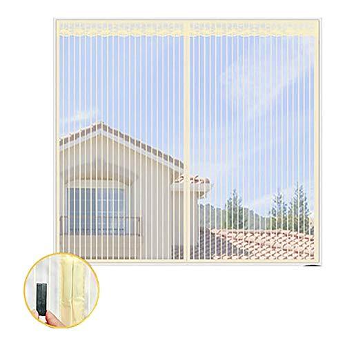 Muggengaas voor ramen, magnetisch, gordijnen voor ramen, bescherming tegen muggen, met kleefband, kleur beige 100x120cm(39x47inch)