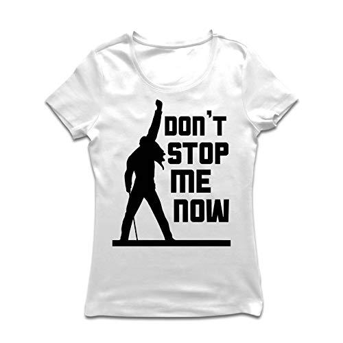 lepni.me Maglietta Donna Don't Stop Me Now! Camicie dei Fan, Regali di Musicisti, Vestiti Rock (Medium Bianco Multicolore)