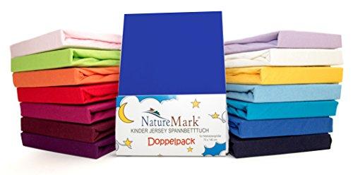 2er Sparpack Kinder Spannbettlaken Jersey 100% Baumwolle für Kinderbettmatratzen ÖKO Tex Geprüft- Gr. 70 x 140 cm, Royalblau / Königsblau