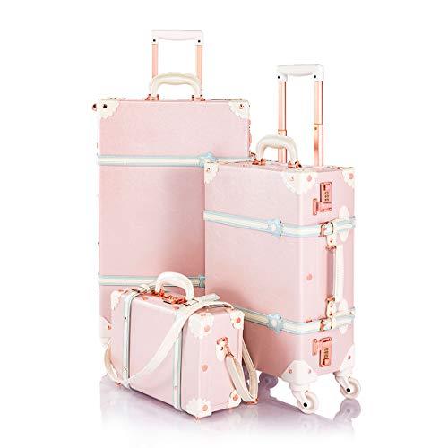 COTRUNKAGE 3 Piece Vintage Luggage Set Retro Trunk (13' 20' 26', Cherry Pink)