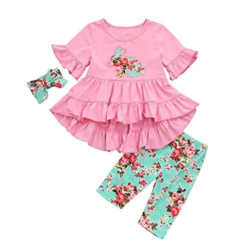 Cover 3 Stück Bekleidungsset Baby Mädchen Glockenärmel Kleid + Hosen + Haarband Ostern Kleidung
