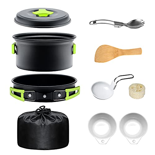 urbenfit Camping Cookware Set, with Aluminum Pot with Lid, Bowl, Wooden Spatula, Spoon with Stainless Steel Handle, Cleaning Sponge, Thick Gloves