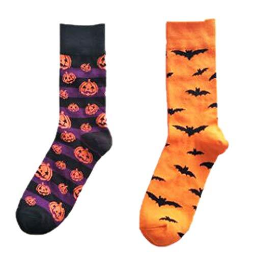 Calcetines de los hombres Calcetines altos de Halloween calcetines largos de algodón de la historieta ocasional de la historieta Calcetines divertidos coloridos