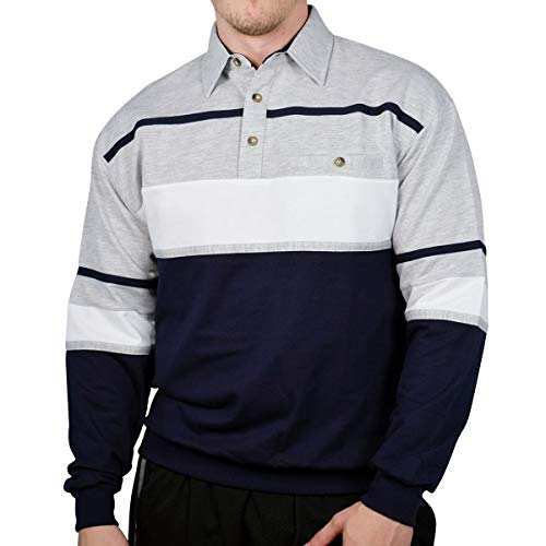 Classics by Palmland Horizontal Stripes Long Sleeve Banded Bottom Shirt Grey Heather