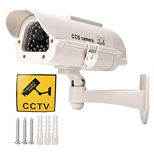 Sorand ABS con Monitor Finto a Luce LED, Argento con Staffa Regolabile Telecamera Finta Altamente realistica, Ufficio per Esterni, Interni, Interni