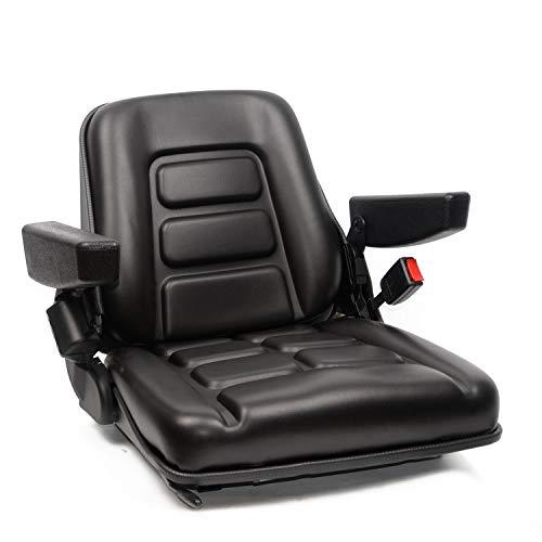 Universal Fold Down Forklift Seat with Adjustable Angle Back,Armrest and Safety Belt,for Tractor,Excavator Skid Loader Backhoe Dozer Telehandler