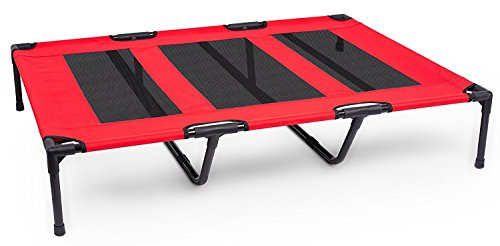Internet's Best Dog Cot - 48 x 36 - Elevated Dog Bed - Cool Breathable Mesh - Indoor or Outdoor Use - Large - Red