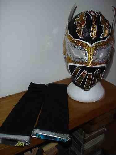 SIN CARA SCHWARZ KOSTÜM VERKLEIDEN OUTFIT MASK ÄRMEL ZAHNRAD-BÖSE HUNICO 2013 EXKLUSIV 1/100 STYLE WWE WRESTLING