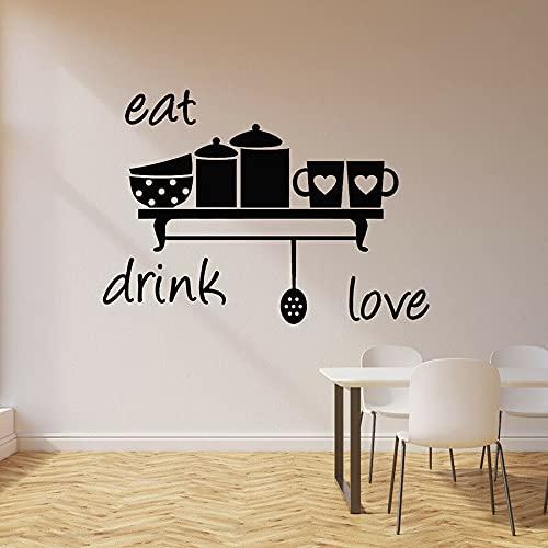 HGFDHG Comer, Beber, Amor, calcomanía de Pared, Cocina, decoración del hogar, Taza de corazón, café, Restaurante, Vinilo, Pegatina de Pared, Ventana, Arte Mural