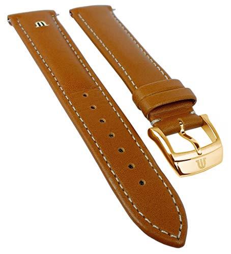 Maurice Lacroix Eliros Elegant | Kalbsleder Uhrenarmband, Hellbraun, versenktes Emblem 33364, Stegbr