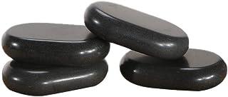 "Master Massage 4 Piece 4.6""x 3"" x 1.2"" Extra X- Large Ovular Black Basalt Lava Hot Stone Rock Pack"