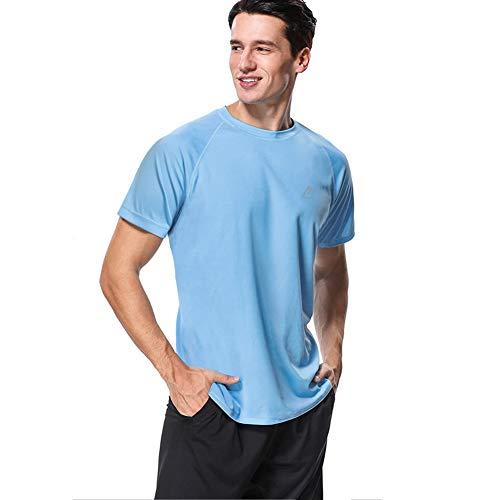 MeetHoo T-Shirt Homme, Tee Shirt Sport Manche Courte Rashguard Rash Vest Anti-UV UPF 50+ Sun Protect Tops Running Fitness Surfing,Bleu,L
