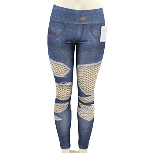 Yundongyi Sportbroek voor dames, drukdoorlatend, ademend, jeans, legging, hoge taille, hardlopen, yogabroek, fitness, slank, gymleggings