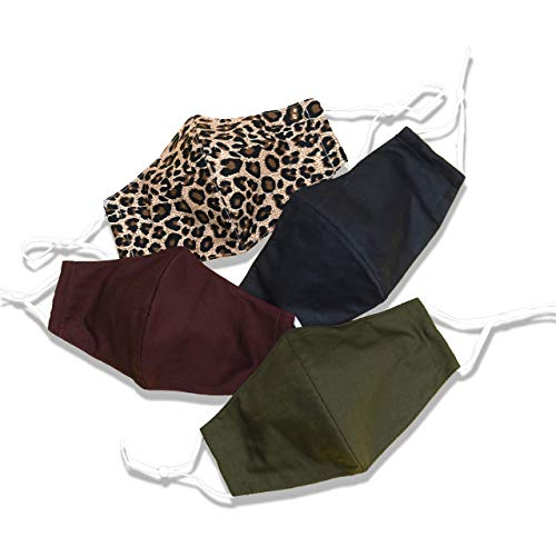 Leopard Face Mask For Women Stylish Fashionable Holiday Christmas masksBlack Maroon Red Olive Green Sage Autumn Fall Thanksgiving Pack of 4