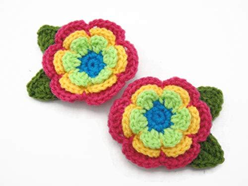 Hair Clip Flower Crochet Decorative Accessories Girl Orange Pink