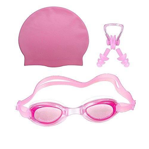 Golden Girl Cap,Goggle,Ear Plug-Pink Swimming Set, Medium Size (Pink)