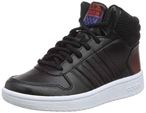 adidas Unisex-Kinder Hoops 2.0 Mid Hohe Sneaker, Schwarz (Core Black/Active Red 0), 36 2/3 EU