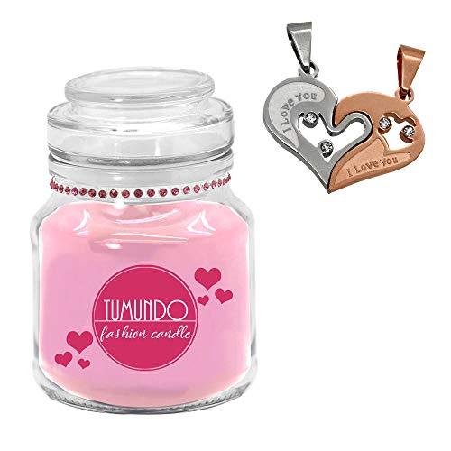tumundo Fashion Candle Schmuck-Kerze Valentinstag Liebe Love Muttertag Geburtstag Duftkerze Halskette Herz Anhänger, Variante:Bronze