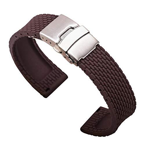 JJBFAC 18mm 20 mm 22 mm 24 mm Banda de Correa de Silicona para Huawei Watch GT 2 para Samsung Galaxy Active2 Pulsera de Reloj de Goma para Amazfit GTR (Band Color : Brown, Band Width : 22mm)