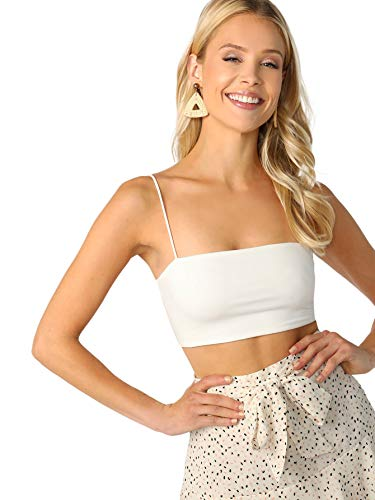 SheIn Women's Basic Plain Spaghetti Strap Tube Crop Cami Top White