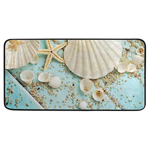 Bardic anti-slip deurmat schelpen frame op houten deurmat machine wasbare slaapkamer mat voor het leven Dineren kamer slaapkamer keuken,50.8x99cm