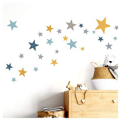 Little Deco Wandtattoo 60 Sterne Kinderzimmer Mädchen Junge Stars I gelb grau blau I viele Farben Wandaufkleber Wandsticker Set bunt selbstklebend DL409