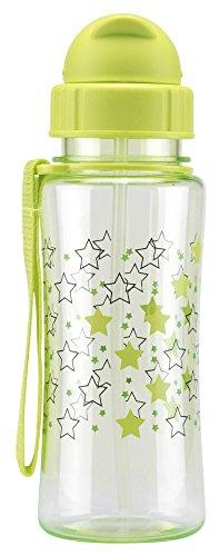 Culinario Trinkflasche Kid's Fun aus Kunststoff, 460 ml, in grün, Schraubverschluss mit Schutzkappe, integrierter Strohhalm, mit Trageschlaufe