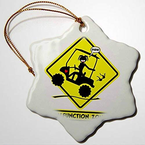 Ornaments to Paint SCREAMNJENNY Golf Wardrobe Malfunction Road Caution Sign of A Malfunction Zone Stickgirl Popping A Wheelie in Her Golf Cart Christmas Ornaments Pandemic Xmas Decor Holiday present