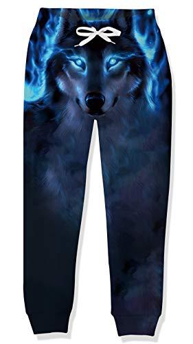 Lovekider Bambina Pantalone Stampa 3D Pantaloni Sportivi Coulisse Elastico Jogging Pantaloni Scuola Eleganti Ragazzo Lupo Blu 10-11 Anni