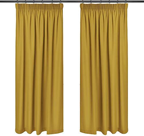 Rollmayer Vorhänge mit Bleistift Kollektion Vivid (Senf 8, 135x240 cm - BxH) Blickdicht Uni einfarbig Gardinen Schal für Schlafzimmer Kinderzimmer Wohnzimmer