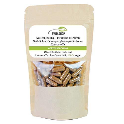Austernseitling, Pleurotus ostreatus  1 Packung = 60 x 400 mg  Hochdosiertes Vitalpilz-Pulver   Vegane Kapseln   Ohne Zusatzstoffe  Made in Germany