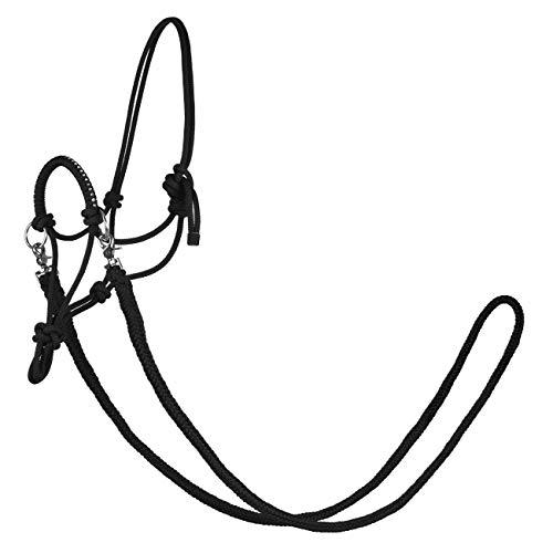 York Knotenhalfter mit Zügeln Zirco Arbeitshalfter Reithalfter (Full, schwarz)