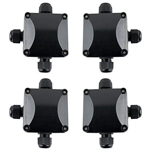 GWHOLE 4 Cajas de Conexiones con 3 Vías Empalmes IP68 Caja de Conexiones Impermeable Eléctricas para Cables Conector Interior Exterior Subterráneo cajas Conexiones Negro