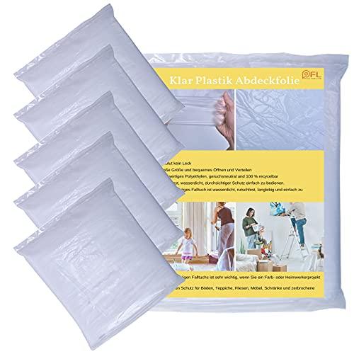 5 Stück Transparent Maler Abdeckfolie Staubschutzfolie Plastikplane Folie Wasserdicht Abdeckplane für Boden, Möbel, Teppiche, Schrank, Oberflächenschutz