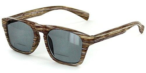 """Rickshaw"" Bifocal Reading Wayfarer Sunglasses with Faux Wood Finish for Stylish Men and Women (Java +1.75)"