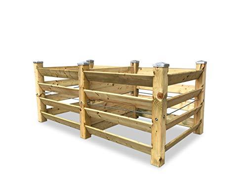 GartenDepot24 Eco Composteur double en bois 188 x 100 x 80 cm env. 1300 l