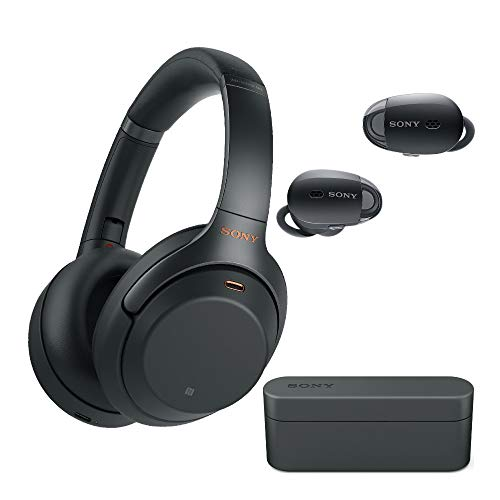 Sony WH-1000XM3 Wireless Noise-Canceling Over-Ear Headphones (Black) with Sony True Wireless Noise Canceling Headphones (Black) (2 Items)