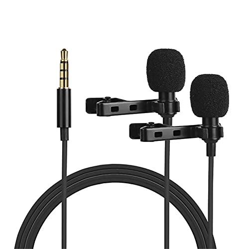 XuZeLii Micrófono De Solapa Micrófono De Electreto Omnidireccional Condensador Lavalier Micrófono Dual Cabezal con Cable De 3,5 Mm 4M TRR Adecuado para Grabación De Entrevistas