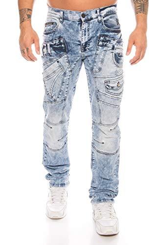 Cipo & Baxx Styliche Herren Jeans Hose mit vielen Details blau (W32/L32)