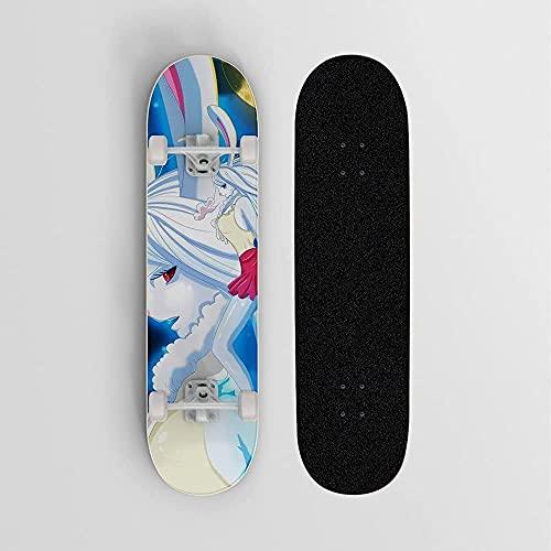Patineta de anime para UNO Pieza de león de zanahoria, mini crucero, patineta de cubierta de arce de 7 capas, soporte de 100 kg de carga para principiantes y profesionales, deportes al aire libre
