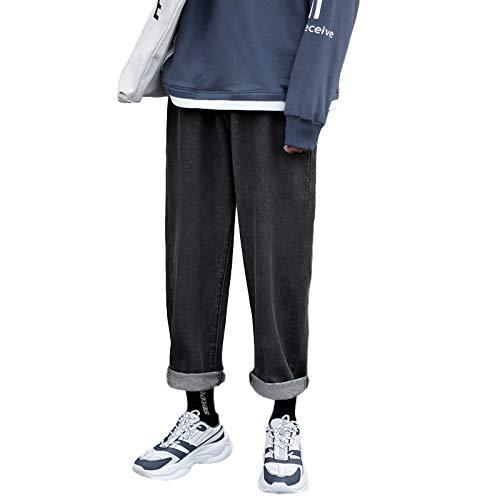 Pantalones Vaqueros para Hombre Moda de otoño Pantalones Vaqueros Casuales de Pierna Ancha Rectos Sueltos Pantalones Vaqueros clásicos japoneses de Color sólido L