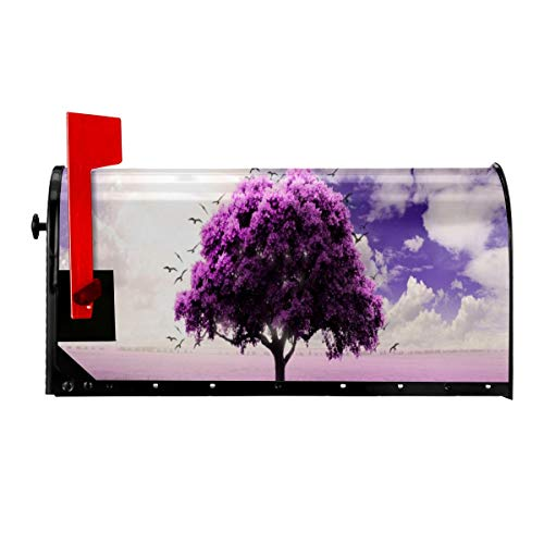 Mailbox Covers Magnetic Marvellous Lonely Tree Purple Lavender Mailbox Wraps Boxes Cover Set Outdoor Letter Post Box Cover Wrapped Standard Size 21'x 18' for Post-Mount Mailboxes Home Garden Yard Deco