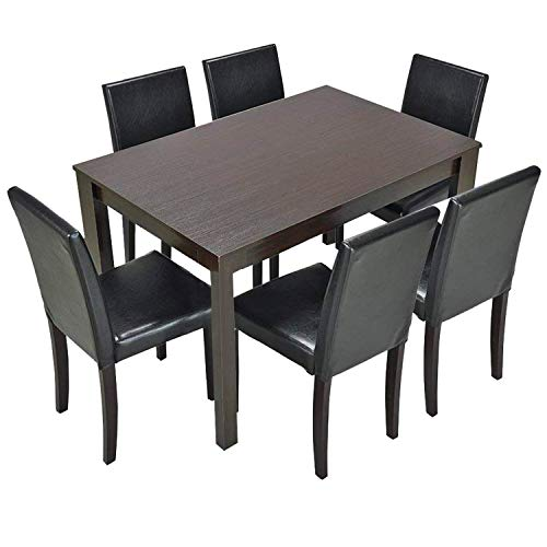 Furgle 7 Piece Furniture Kitchen Dining Table Set with Oak Wood Dining Room Table and Set of 6 Dining Chairs, Dining Set with 40' Solid Table and Upholstered Fabric Seat, Brown