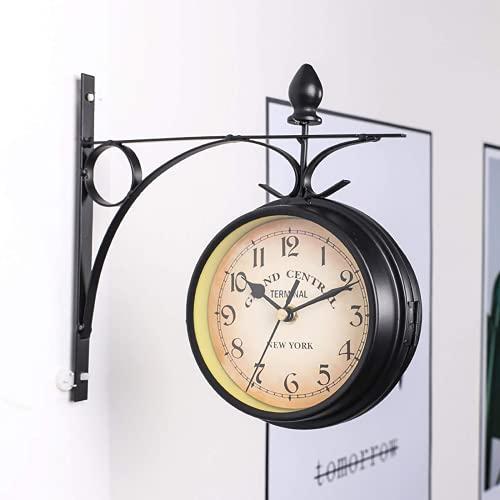 Reloj de pared retro de doble cara diseño de cáscara de hierro antiguo reloj de jardín al aire libre impermeable jardín interior al aire libre regalo de cumpleaños para hombres
