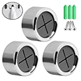 SUMAJU 3 Pieces Premium Adhesive Round Towel Holder, Adhesive Towel Hooks Round Wall Mount Hook Tea Towel Holder for Bathroom, Kitchen and Home, No Drilling Required