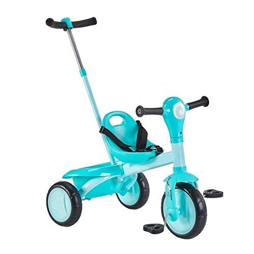 WENJIE Triciclo Infantil Carro Al Aire Libre 2 En 1 Asiento Estructura De Triángulo Ajustable Estables Mano De Empuje Regulable Bebé Bicicleta Verde